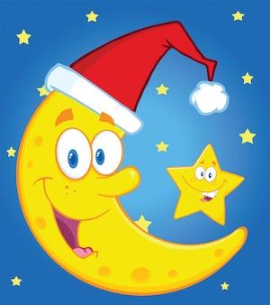 サンタの帽子とハッピークリスマススターの漫画のキャラクターと笑顔の三日月