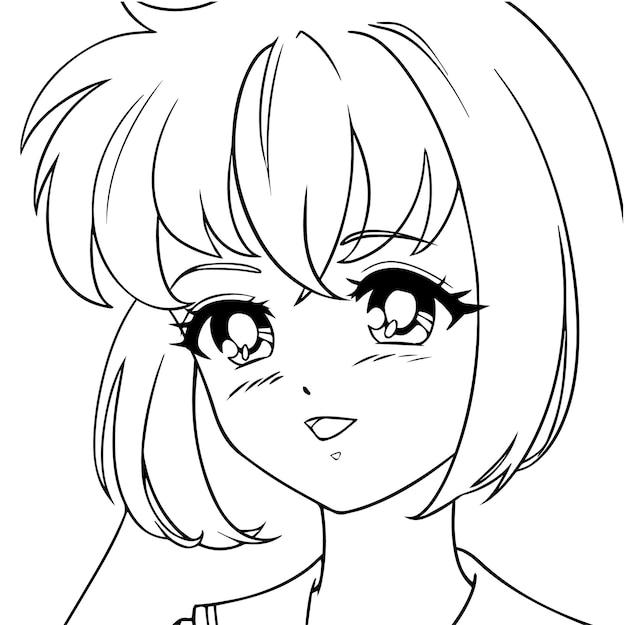 Улыбаясь милый портрет девушки аниме.