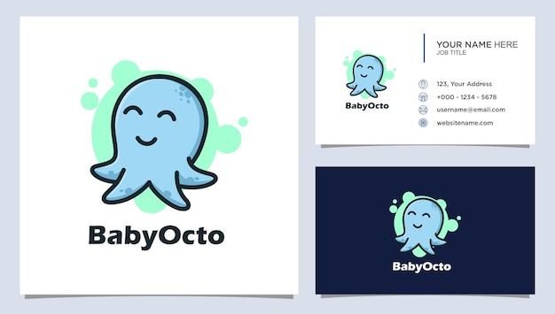 Улыбающийся милый ребенок осьминог талисман характер дизайн логотипа иллюстрация
