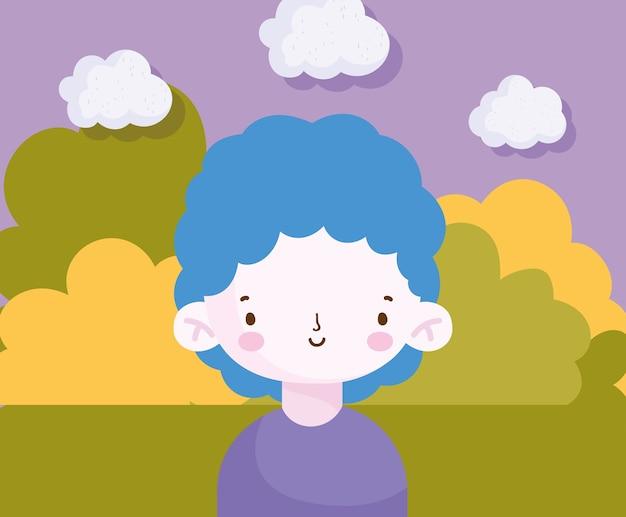 Улыбающийся милый маленький мальчик в парке сцены векторные иллюстрации