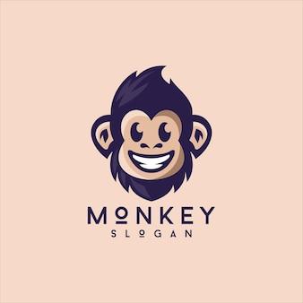 웃는 귀여운 원숭이 로고