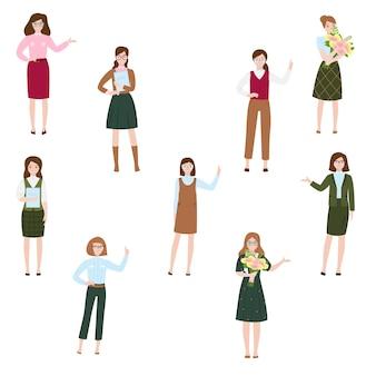 Улыбаясь милая женщина в одежде разного стиля. концепция характера девушки коммерсантки и офиса.