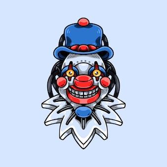 Smiling cyber clown mascot