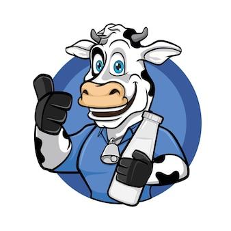 Smiling dairy cow logo mascot design