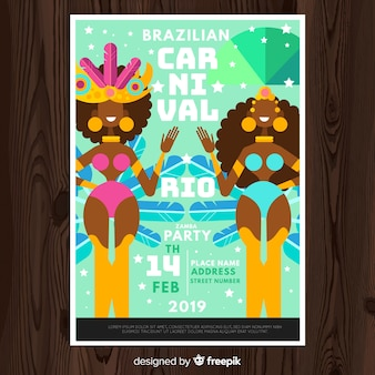 Smiling dancers brazilian carnival poster