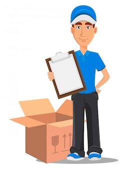 Smiling delivery man in blue uniform