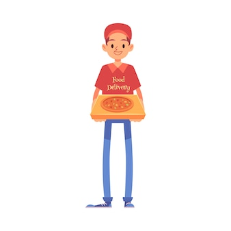 Smiling delivery man stands in cap and t-shirt holding pizza box cartoon style