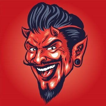 Smiling devil head in hand drawing style
