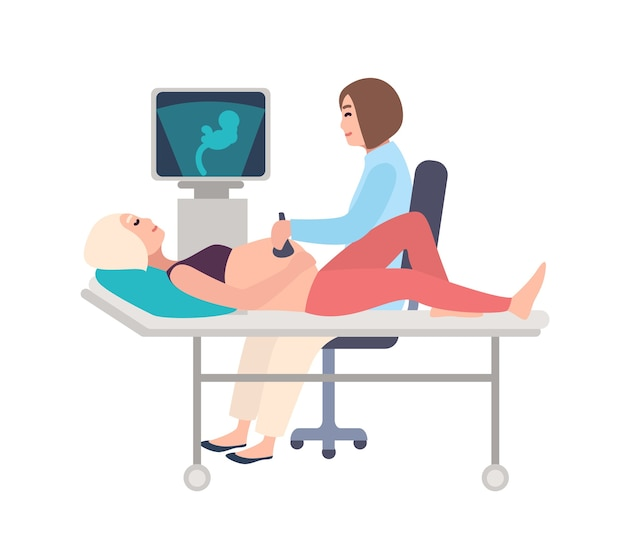 Smiling doctor or sonographer doing obstetric ultrasonography procedure on pregnant woman with medical ultrasound scanner