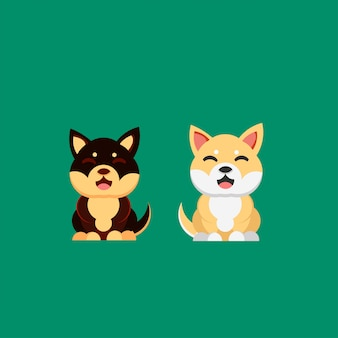 Smiling dog shiba inu hand drawn style illustration