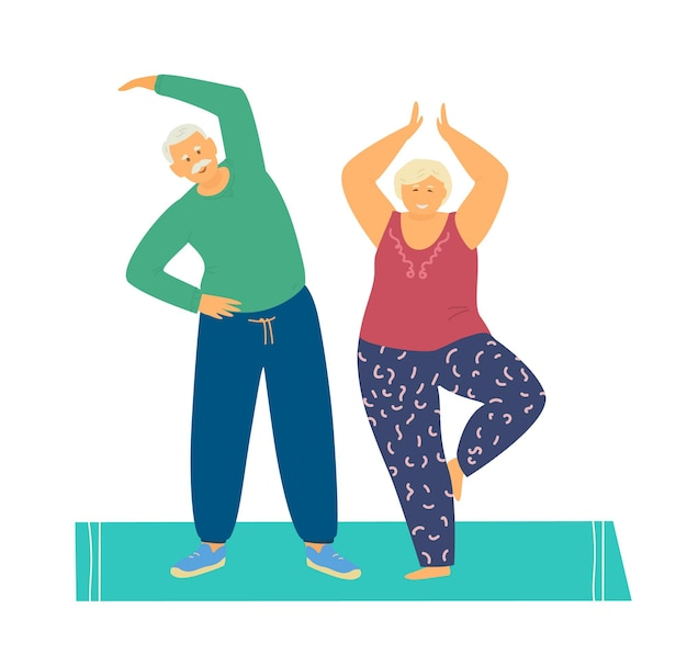 Smiling elderly couple practicing yoga and stretching on mat.