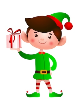 Smiling elf holding gift box illustration