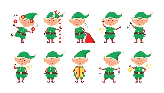 Smiling elf packing gifts. collection of christmas elves isolated on white background. funny and joyful helper santa sending holiday gift and decoration christmas tree. happy new year. vector.