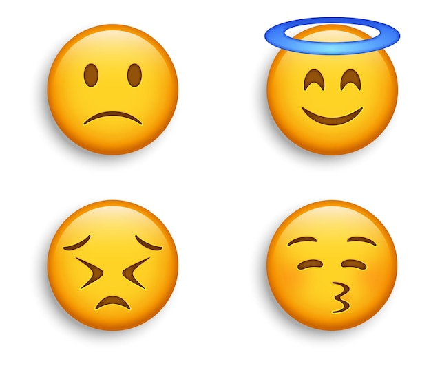 Smiling emoji with halo and kissy face, slightly frowning sad emoticon and persevering emotion