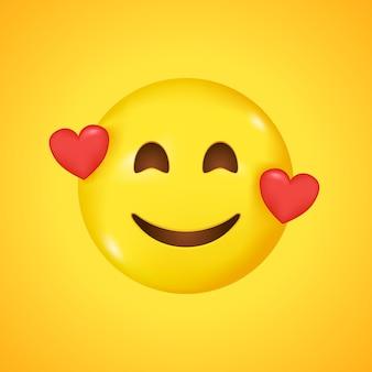 Улыбающийся смайлик с тремя сердечками. широкая улыбка в 3d
