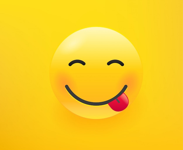 Smiling emoticon with the tong. 3d comic style  illustration