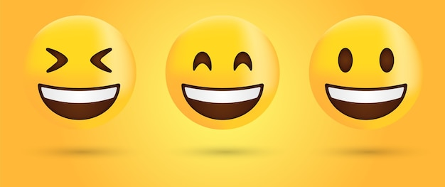 Smiling face emoji or happy laugh emoticon
