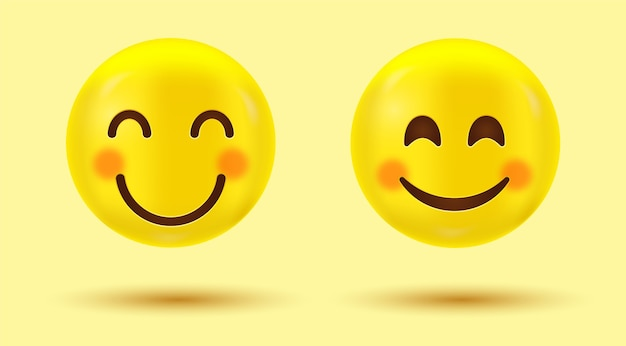 Smiling face emoji with blushed cheeks or happy smile emoticon with smiling eyes