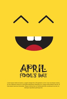 Smiling face first april fool day happy holiday greeting card