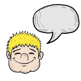 웃는 얼굴 스케치 만화 행복 감정 eps 10 벡터.