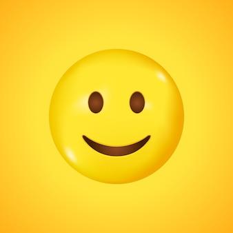 웃는 얼굴. 벡터 이모티콘 미소. 행복한 이모티콘. 노란색 배경에 고립 된 귀여운 이모티콘입니다. 3d로 큰 웃음.