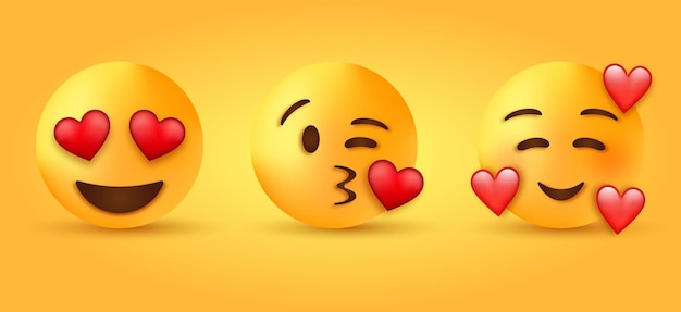 하트 눈으로 웃는 얼굴-세 개의 하트로 이모티콘 미소-키스를 날리는 이모티콘-사랑하는 캐릭터
