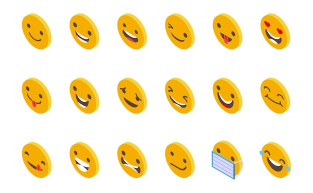 Smiling faces icons set isometric vector. happy face. cute smile