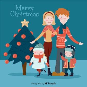 Smiling family christmas illustration