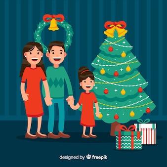 Smiling family christmas illustration