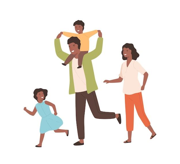 웃는 가족이 함께 즐겁게 노는 벡터 평면 삽화. 행복한 부모와 달리는 아이들은 흰색으로 격리된 긍정적인 감정을 가지고 있습니다. 검은 피부 만화 사람들이 기뻐합니다.