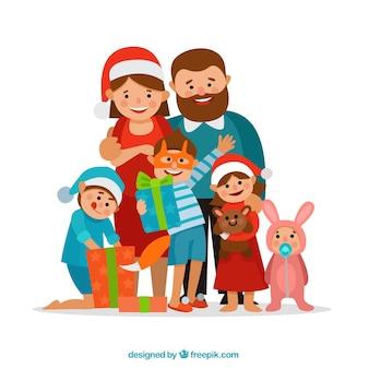 선물 일러스트와 함께 웃는 가족