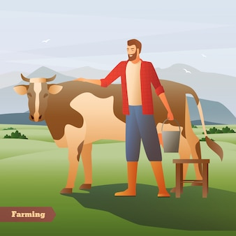 Smiling farmer with bucket near spotted cow on green pasture on mountain background flat composition