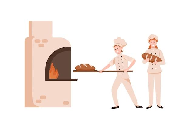 웃는 여성 빵 굽는 빵 평면 벡터 일러스트 레이 션. 오븐에서 맛있는 빵을 준비하는 행복한 빵집 노동자. 제복을 입은 만화 캐릭터의 베이크하우스 직원. 제과점 요리 과정.