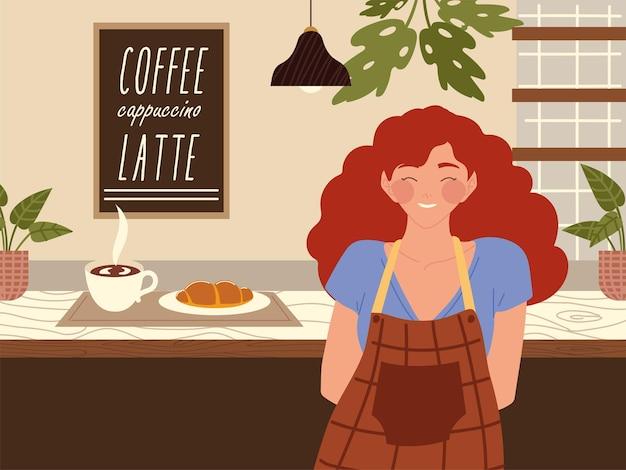 ホットコーヒーとコーヒーショップのカウンターイラストのクロワッサンとエプロンで笑顔の女性バリスタ