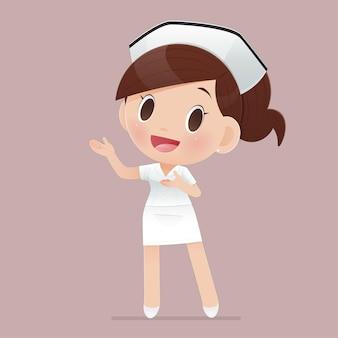 笑顔の女性看護スタッフキャラクターデザインのベクトル図