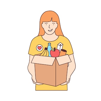 白い背景で隔離の果物やその他の製品とボックスを運ぶ女性のボランティアの笑顔。食糧の寄付、ボランティア、利他的な活動。線画スタイルのカラフルなベクトルイラスト。