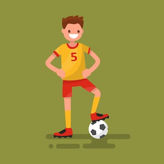 Smiling football player standing with a ball illustration