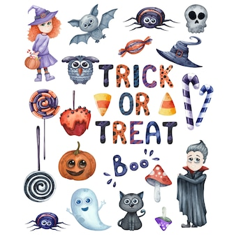 Smiling and funny halloween watercolor illustrations set for party isolated