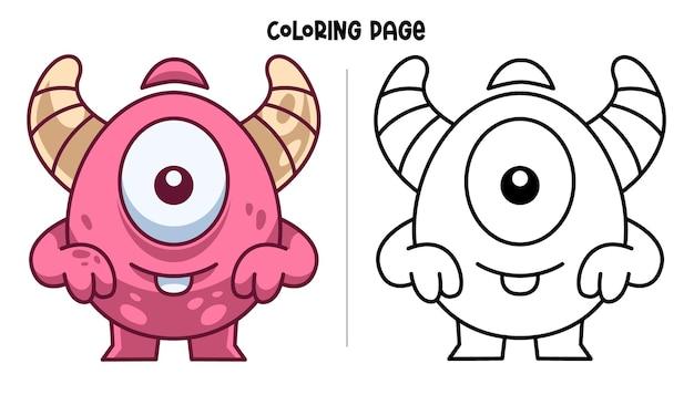 웃 고 재미있는 한쪽 눈 괴물. 인쇄 가능한 색칠 페이지 및 색칠하기 책