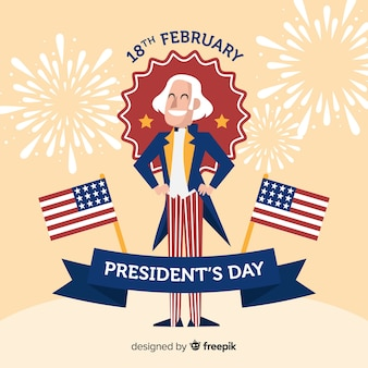 Smiling george washington president day background