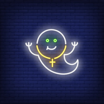 Smiling ghost neon sign