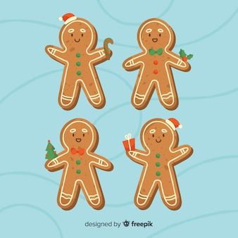 Smiling gingerbread cookies collection