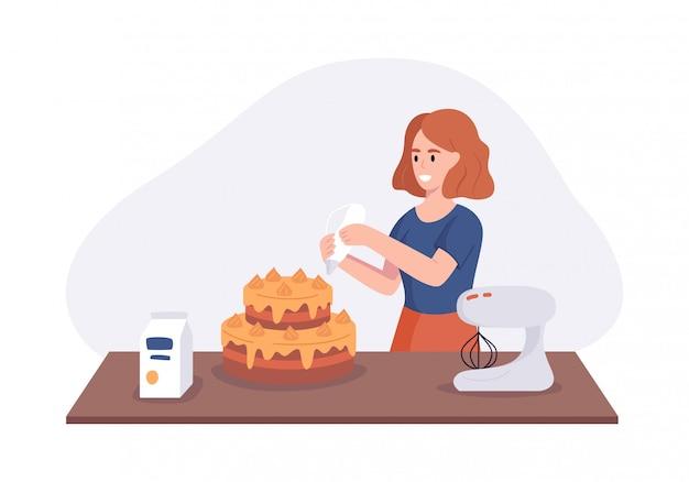 Улыбающаяся девушка блюдо торт на кухонном столе. женщина на кухне готовит домашние блюда к обеду. иллюстрация приготовления пищи в домашних условиях