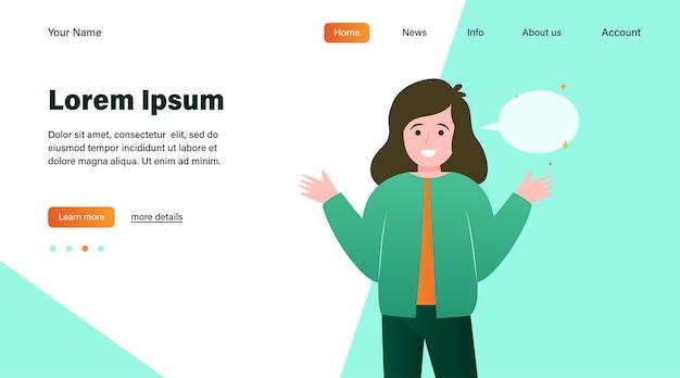 Улыбающаяся девочка и пустой речевой пузырь. рука, выступая, разговор плоский векторные иллюстрации. дизайн веб-сайта концепции коммуникации и сообщений или целевая веб-страница