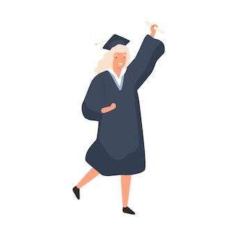 흰색 절연 졸업을 축하 웃는 소녀