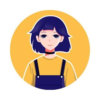 Smiling girl character