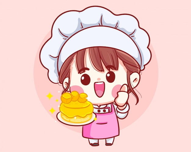 Smiling girl chefs cooking, holding cake, bakery cartoon art illustration logo.