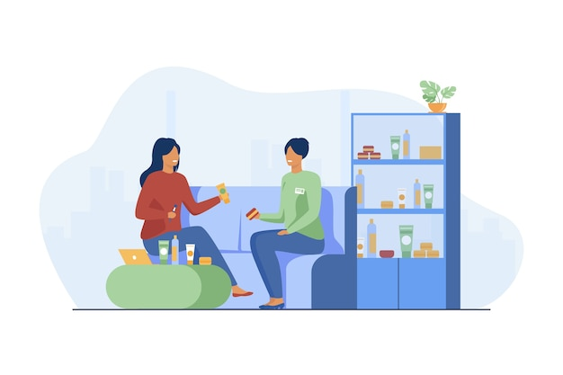 Smiling girl choosing cosmetics and skincare cream. consultant, client, conversation flat vector illustration. communication and make-up store