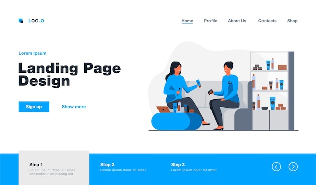 Smiling girl choosing cosmetics and skincare cream landing page in flat style