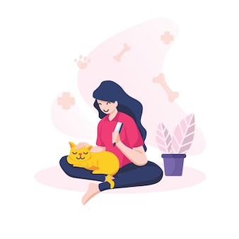 Smiling girl combing her cat  isolated